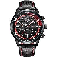 Mens Simulation Digital Sports Watch Casual Impermeable/Luminoso/Calendario/Reloj de Cuarzo (Color : Rojo)