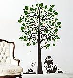 Wandtattoo Baum mit Eulen Eulenbaum Eule M1346 - ausgewählte Farbe: *Schoko/Dunkelgrün/Maigrün/Rot* ausgewählte Größe:*L_155cmx100cm