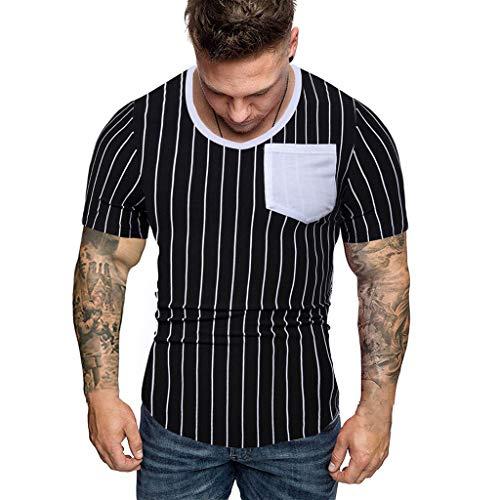Herren T-Shirt Kurzarm Shirt Streifen Patchwork Front-Tasche Sommer T Shirts mit Rundhals-Ausschnitt Männer Slim Fit Crew Neck Freizeit Fitness Tee Tops Oberteil S-2XL SSUDADY