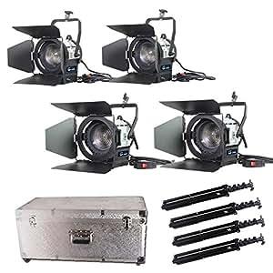 standx4+ LED 50Wx2+ 100wx2lumière Vidéo Studio Variateur d'intensité intégré Fresnel Spot d'éclairage continu Kit étui en aluminium pour appareil photo vidéo