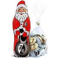 SC Freiburg Schokoladen Weihnachtsmann, Schoko Nikolaus (150 g) Plus gratis Fussball-Schokoladenmischung (150g)