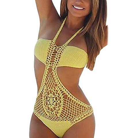 meinice Crochet Top Halter traje de baño de una pieza