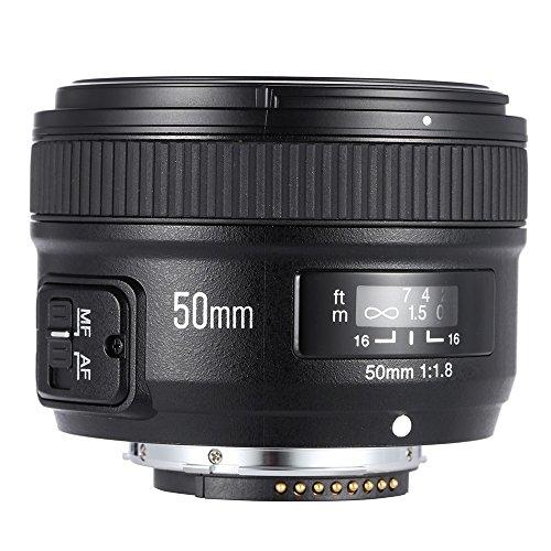 YONGNUO YN50mm F1.8 Grande Apertura AF Messa a Fuoco Automatica FX DX Lens Full Frame per Nikon + Andoer Panno di Pulizia