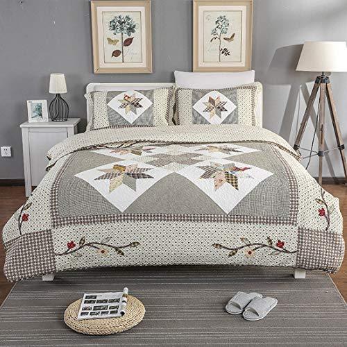 MALLTY Dreiteiliges Bett Besticktes Steppbett mit handgefertigtem Patchwork-Bett für Schlafzimmer (Color : Multicolor) (Bestickte Bett-satz)