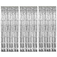 Geboor 3 Pack Metallic Tinsel Curtains Fringe Foil Curtain for Wedding Birthday Party Door Windows Decorations (Silver)