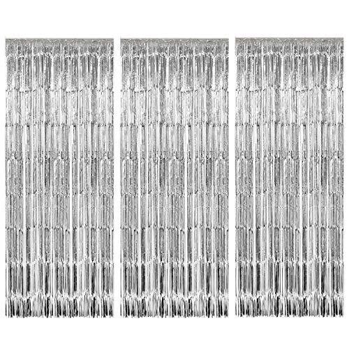 3 Pack Metallic Tinsel Vorhänge Fringe Folienvorhang für Hochzeit Geburtstag Party Tür Windows Dekorationen (Silver)