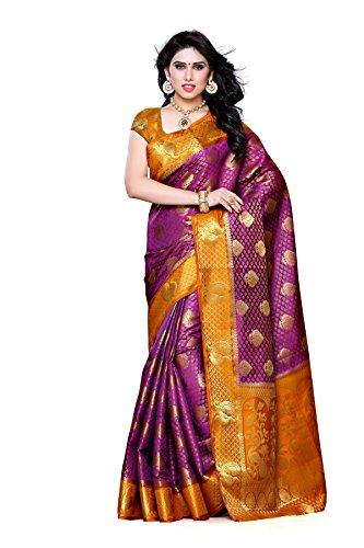 Mimosa Women\'s Traditional Art Silk Saree Kanjivaram Style With Blouse Color:Mejantha(3301-200-MEJAN-MSTD )
