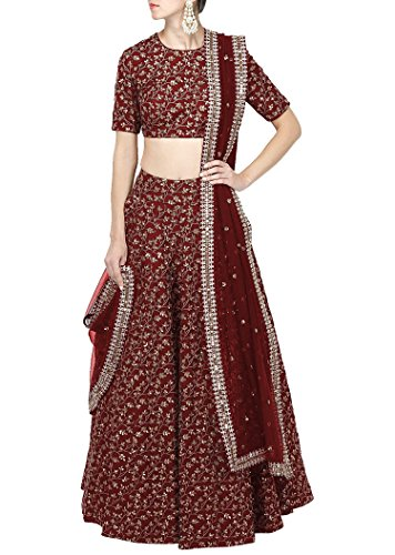 Rozy Fashion Maroon Raw Silk Embroidered Lehenga Choli With Matching Net Dupatta