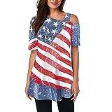 Lazzboy Donna T-Shirt a Freddo Spalla Americano USA Flag Stampareed Vintage Raso Manica Corta Bluse(S(38),Rosso)