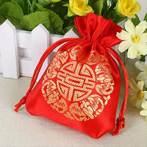 Geschenktüte Großhandel 50pcs/los Red Silk Bags Halskette Armbänder Schmuck Verpackung Taschen Hochzeit Gunsten Beutel Party Geschenktasche -