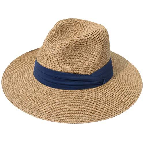 DRESHOW Damen Stroh Panama Hut Fedora Beach Sonnenhut Wide Brim Straw Roll up Hat UPF 50+ Brim Fedora-hut