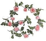 Amkun - Guirlande de roses en soie et lierre artificiel - Décoration vintage d'intérieur à suspendre