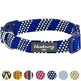 Blueberry Pet Kunsthandwerkliches Häkel Inspiriertes Endlose Quadrate Hundehalsband, Marineblau und Elfenbeinfarben, M, Hals 37cm-50cm, Verstellbare Halsbänder für Hunde