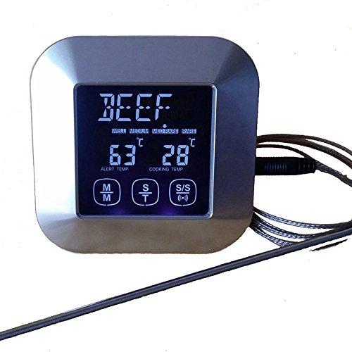 LUOER 2PACKS Touchscreen LCD Digital Küche Essen Kochen Fleisch BBQ Thermometer Und Timer Für Ofen Türkei/Grillen/Braten/Braten/Wasser/Milch BBQ Grill Thermometer Uhr - Wasser-ofen-system
