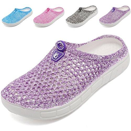 welltree Clog Pantoffeln Frauen Sommer Loch Sandalen, zu Fuß, Anti-Slip Beach Wasser Schuhe Purple 38 EU