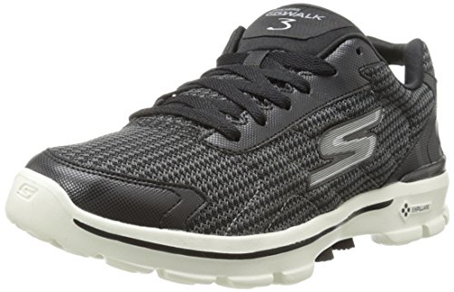 Skechers Men's GOwalk 3 FitKnit Fitness Shoes, Black (Black/White), 10 UK (44.5...