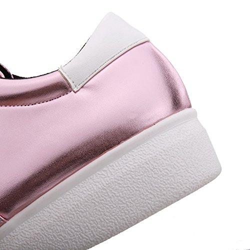 AgooLar Femme Pu Cuir Rond Couleur Unie Lacet Chaussures Légeres Rose