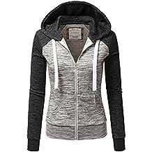 Newbestyle Jacke Damen Sweatjacke Hoodie Sweatshirt Pullover Oberteile  Kapuzenpullover V Ausschnitt Patchwork Pulli mit Kordel und 58cb7b0dde