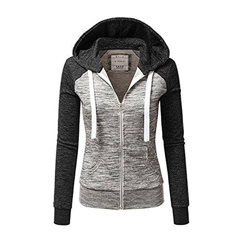 Newbestyle Jacke Damen Kapuzenpullover Strickjacke Pullover Sweatshirt Hoodies Kontrastfarbe Pulli Dunkelgrau Large Strickjacke Pullover Jacke