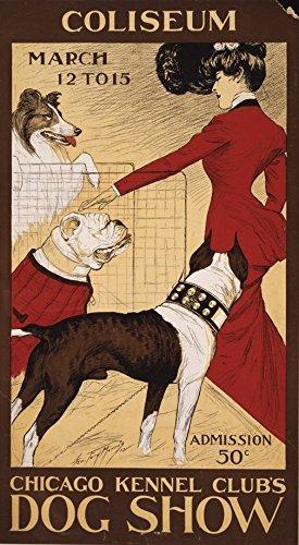 Art Show Poster (Die Collective Vintage Coliseum Chicago Hundehütte Clubs Hund Show Poster Art Nouveau Poster 59,4cm x 84,1cm A1Größe Qualität Druck, Holz, bunt, 84,1x 59,4x 84,1cm)