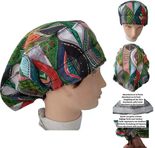 Chirurgische Kappe. Frau ethnisch für lange Haare, Chirurgie, Zahnarzt, Tierarzt, Küche usw. Handtuch vorne, perfekte Passform und passt alle Haare. Handmade