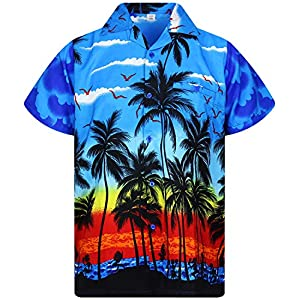 V.H.O. Funky Hawaiihemd | Herren | Kurzarm | Front-Tasche | Hawaii-Print | Strand Palmen Meer
