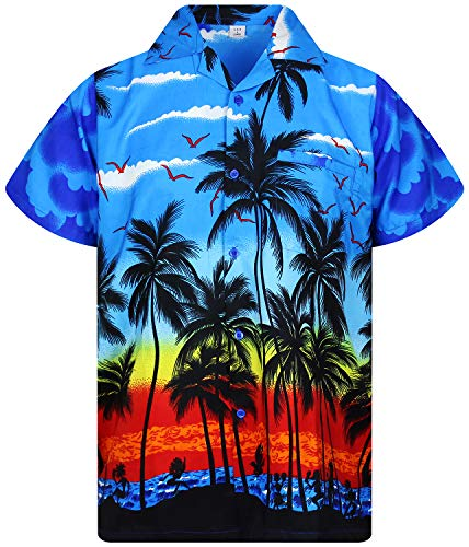 Funky Hawaiihemd, Beach, Blau, - Orange Mann Kostüm