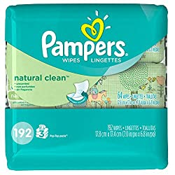 Pampers Natural Clean Wipes 3x Travel Pack (192 Sheets)