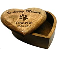 In Loving Memory pequeño corazón de madera caja de urna cenizas de mascota Perro Mascota personalizable