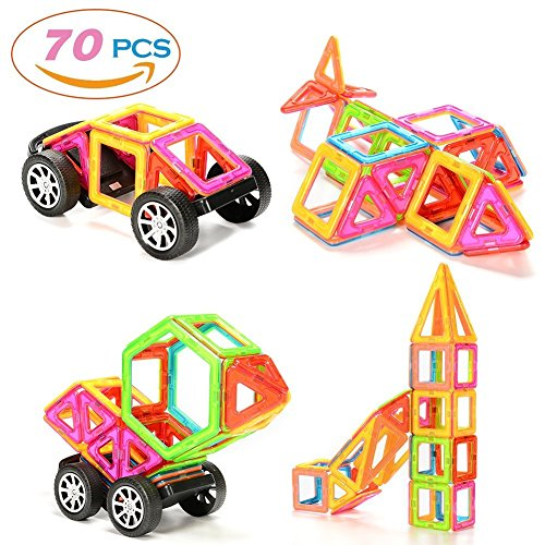 ThinkMax 70 Pcs Magnetic Building Blocks, Educational Construction Stacking Toys, Car Wheel Set Present for Kids and Children