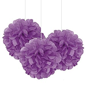 Unique Party Paquete de 3 pompones pequeños de papel de seda Color morado 23 cm 64222