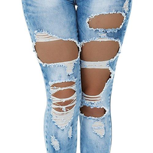 malucas Damen Jeans High Waist Hose Röhrenjeans Röhrenhose Slim Fit Skinny Stretch Blau