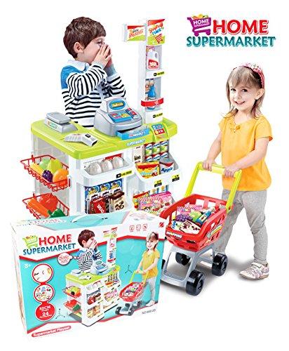 Super-Markt - Shop - Warenkorb, Kasse, Gewicht und andere Accessoires, Supermarkt mit Einkaufswagen, Mobiler Marktstand, Verkaufsstand, großen Markt, Mobile Markt mit viel Zubehör -