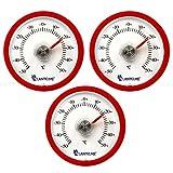 Lantelme 3 Stück Set rundes Bimetall Analog Klebe Kühlschrankthermometer Kunststoff Farbe rot 4097