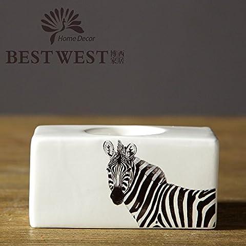 Fatte a mano Zebra Pattern rettangolo ceramica creativa portacandele home ornamenti decorazioni artigianali e doni,12*6*6CM