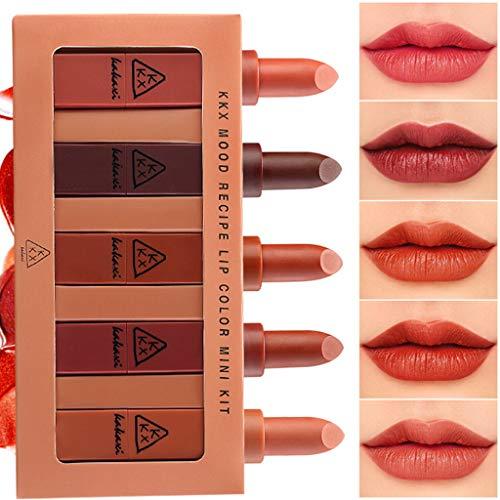 AMUSTER rouge à lèvres cadeau Longue Durée Rouge à Lèvres Liquide Mat Waterproof Hydratant Brillant Maquillage à Lèvres Lot de 5 Pcs (A)