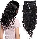 Extension a Clip Cheveux Naturel Ondulé Maxi Volume - Rajout Vrai Cheveux Humain 100% Remy Hair - 8 Pcs (#1B NOIR NATUREL, 45CM-140g)