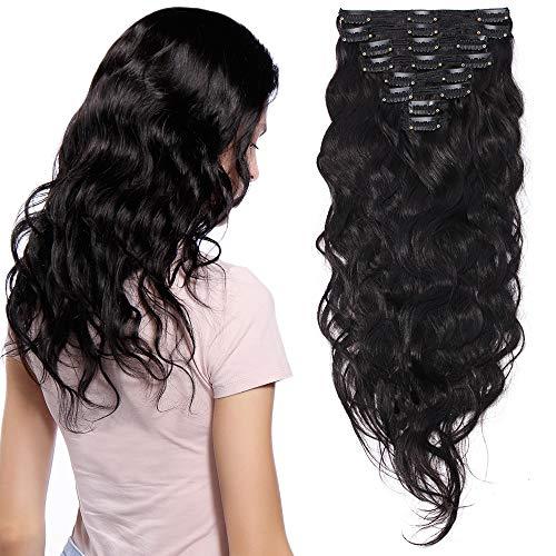Extension capelli veri clip volumizzante ricci neri - 45cm 140g - 8 fasce folte double weft full head 100% remy human hair mossi, 1b nero naturale