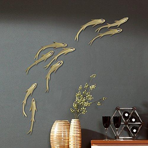 QTT Stilvoll dekorierte Wände DIY stereo geprägte 9 Fisch Wand kreativ Wohnzimmer Wanddekoration hängenden Restaurant, Home Decor