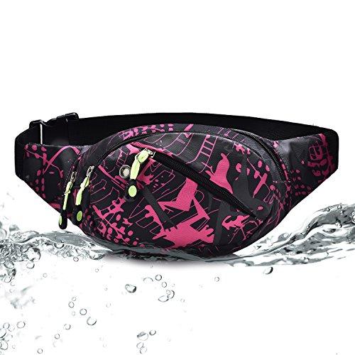 Wasserdichte Gürteltasche Bauchtasche 3 Reißverschluss Taschen Wandern Outdoor Sport Hüfttasche Urlaub Geld Pouch Pack Rose rot