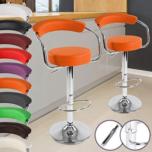 Miadomodo Tabouret Chaise de Bar en Simili Cuir avec Dossier et Accoudoirs Pivotant à 360° (Couleur/Quantité au Choix)