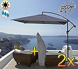 2 Stück PREMIUM XXL Ampelschirm 300 cm, 6-teilig, anthrazit-schwarz, 6 Streben, rund - ca. 3 x 3 m, robustes ca. 200 g/m² Polyester, Sonnenschirm inkl. Schirmhülle UV50+ KOMPLETT mit Standkreuz, Standfuß + ca. 50 mm Mast, Hängeschirm Sonnendach Überdach, Schirm Strandschirm, stabiler Gartenschirm, klappbarer Schirm - anthrazit-schwarz, Klappschirm mit weichem Stoffbezug-extrem wetterfest, tragbar, Strandschirm, hochwertig robust stabil, Sonnenschutz, stabiler Schirm Klappschirm