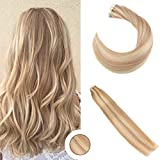 Ugeat Caramel Blonde mit Bleach Blonde Tape in Hair Extensions 100/40pcs 18 Zoll Brasilianisch PU Echthaar Tressen Haar Extensions Glatt