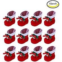 CHBOP Paquete de 12 Botas de Caramelo de Navidad Decoraciones de Navidad Regalos para niños Adornos