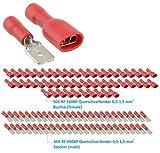 Steckverbinder Flachstecker RF-F608P Isolierte Kabelschuhe Quetschverbinder Set Kabelverbinder für elektro Installation und Werkstatt - geeignet für Kabelquerschnitte 0,5-1,5 mm² (50Xrot)