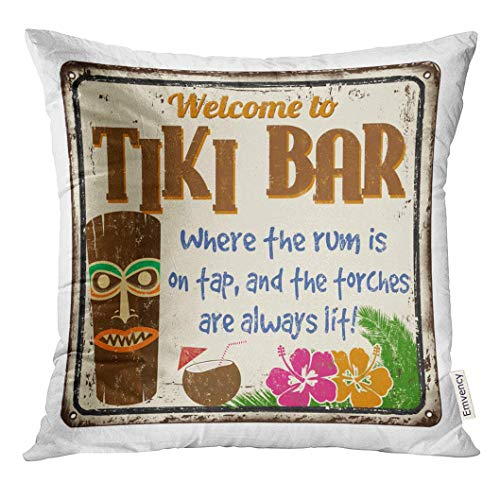 LVOE TTL Dekokissenbezug Gealtertes Willkommen zu Tiki Bar Vintage Rusty Metal Sign auf wei?em Alkohol Dekorative Kissenbezug Home Decor Square Inches Kissenbezug - Stuhl Pl Vintage
