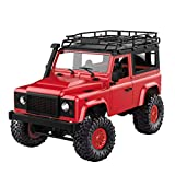 Fulltime E-Gadget 1:12 4WD RC Auto, Front-LED-Licht 15 km/h Off-Road Militär Rock Crawler Monster Truck (Rot)