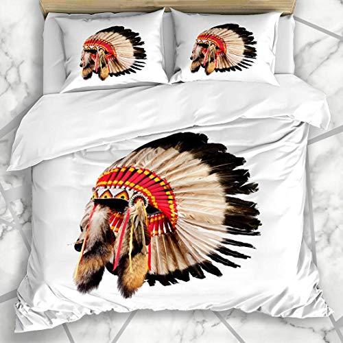 Soefipok Bettwäschesets Cherokee Feder Indianer Häuptling Kopfschmuck Kultur Vintage Kopf Geschichte Krieger Kostüm Mikrofaser Bettwäsche mit 2 Kissenbezügen