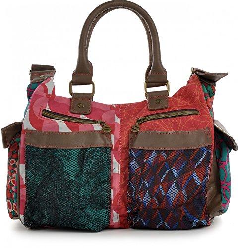 DESIGUAL, sac à main, combinaison de toile et cuir synthétique, multi, différents motifs, 31 x 24 x 11 cm (H x L x P)