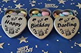 Happy Birthday Darling Gift. Set of 3 Silver Mini Heart Tins Filled With Chocolate Dragees. Perfect Birthday Gift Present .Tin size 45mm x 45mm x20mm. (Darling)